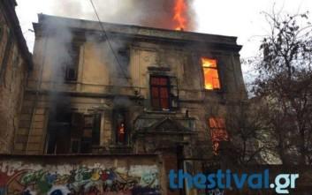 Πυρκαγιά σε διατηρητέο κτίριο υπό κατάληψη στη Θεσσαλονίκη