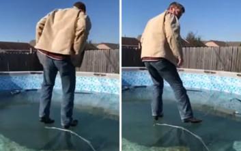 Περπάτημα πάνω σε παγωμένη πισίνα; Ξανασκέψου το