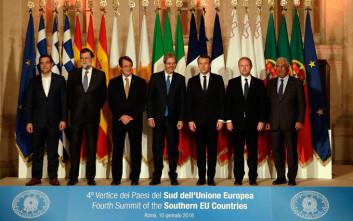 Στο προσφυγικό και το Κυπριακό αναφέρθηκαν οι ηγέτες του Νότου στην 4η Ευρωμεσογειακή Σύνοδο