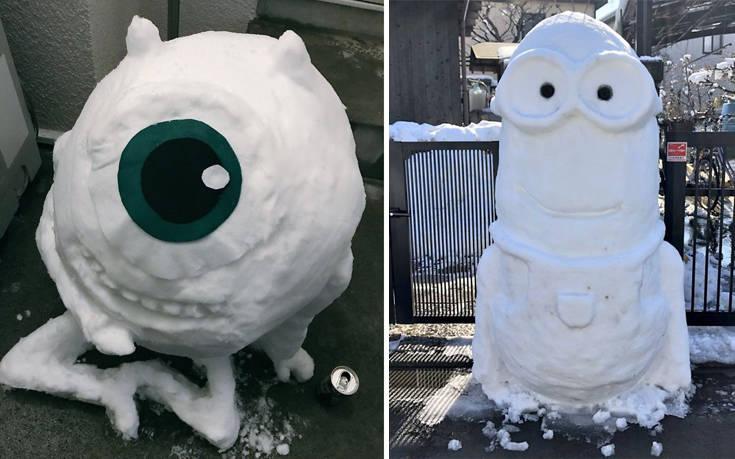 Όταν χιονίζει στο Τόκιο, η φαντασία των Γιαπωνέζων οργιάζει