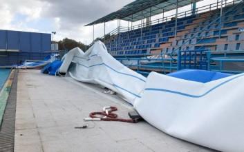 Ζημιές στο κολυμβητήριο των Χανίων προκάλεσαν οι ισχυροί άνεμοι