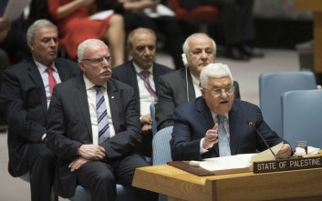 Palestinian President Mahmoud Abbas speaks during a Security Council meeting on the situation in Palestine, Tuesday, Feb. 20, 2018 at United Nations headquarters. (AP Photo/Mary Altaffer)