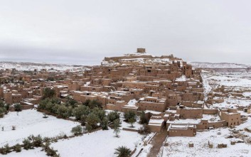 Rare snowfall covers the historic Ksar of Ait-Ben-Haddou, a UNESCO world heritage site in Ouarzazate, south of the capital Rabat, Morocco, Monday, Jan. 29, 2018. (AP Photo/Abdellah Azizi)
