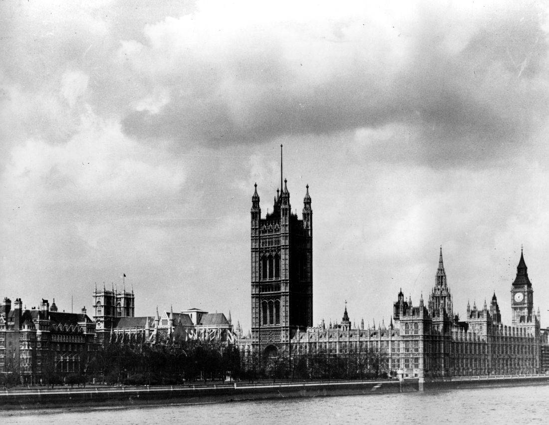 This general view shows the British government's Houses of Parliament along the Thames River in London, England on June 18, 1940.  The section immediately right of the large central tower is the House of Lords.  Big Ben can be see at far right.  (AP Photo/British Library of Information)