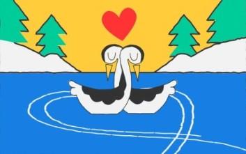 Άγιος Βαλεντίνος και Χειμερινοί Ολυμπιακοί Αγώνες στο doodle της Google