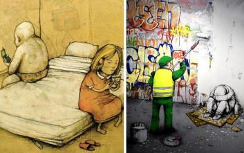 Καλλιτέχνης ζωγραφίζει όσα σκεφτόμαστε και δεν λέμε