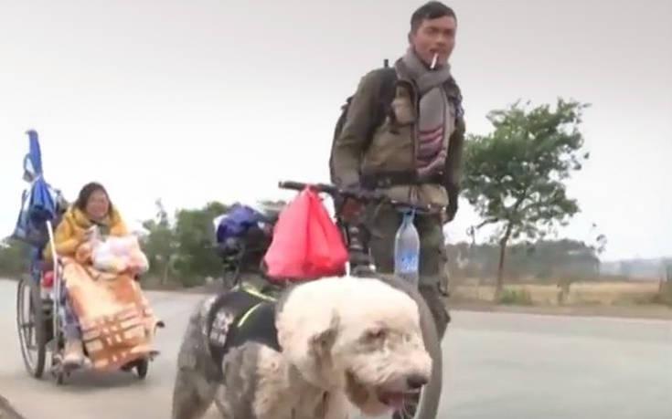 Ταξίδι στην «καρδιά» της Κίνας με ένα αναπηρικό καροτσάκι, ένα ποδήλατο και δύο σκύλους