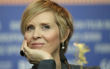 Actress Cynthia Nixon attends a press conference for the film 'A Quiet Passion' at the 2016 Berlinale Film Festival in Berlin, Germany, Sunday, Feb. 14, 2016. (AP Photo/Michael Sohn)