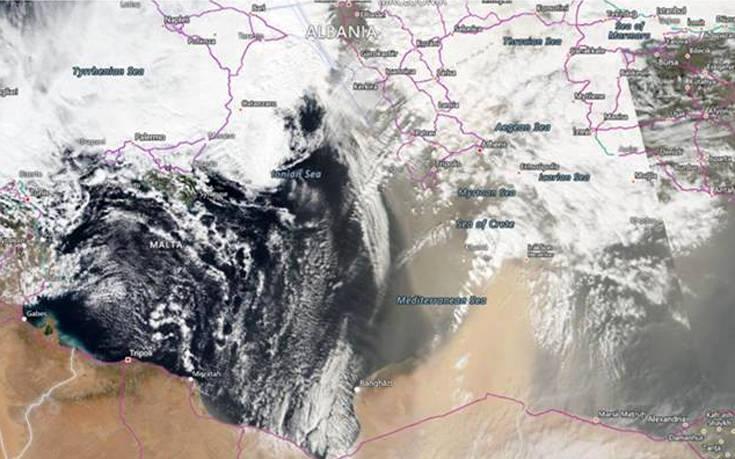 Η ερημική σκόνη στον ελλαδικό χώρο σε εικόνα από δορυφόρο