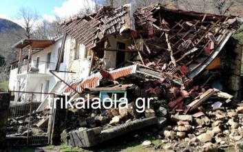Σπίτια βούλιαξαν από κατολισθήσεις σε χωριό της Καρδίτσας