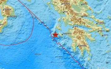 Σεισμός δυτικά της Ζακύνθου
