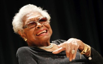 IMAGE DISTRIBUTED FOR NATIONAL PORTRAIT GALLERY - Maya Angelou answers questions at her portrait unveiling at the Smithsonian's National Portrait Gallery on Saturday, April 5, 2014 in Washington, DC. (Paul Morigi/AP Images for National Portrait Gallery)