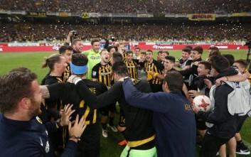 Το «πάρτι» της ΑΕΚ μετά τη νίκη με τον Λεβαδειακό