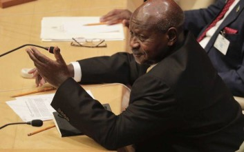Uganda's President Yoweri Museveni speaks during a meeting of members of the African Union during the United Nations General Assembly, Wednesday, Sept. 20, 2017, at U.N headquarters. (AP Photo/Julie Jacobson)