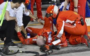 Κάταγμα κνήμης και περόνης για τον μηχανικό της Ferrari