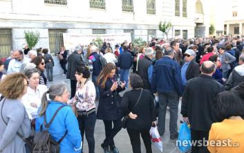 Διαμαρτυρία συνταξιούχων της Εθνικής Τράπεζας για τις επικουρήσεις