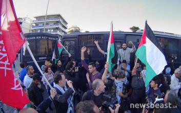 Στην ισραηλινή πρεσβεία η πορεία των Παλαιστινίων