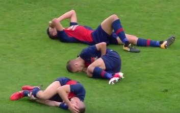 Η σπάνια στιγμή τραυματισμού τριών παικτών της ίδιας ομάδας, ταυτόχρονα