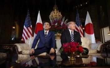 President Donald Trump and Japanese Prime Minister Shinzo Abe during their meeting at Trump's private Mar-a-Lago club, Tuesday, April 17, 2018, in Palm Beach, Fla. (AP Photo/Pablo Martinez Monsivais)