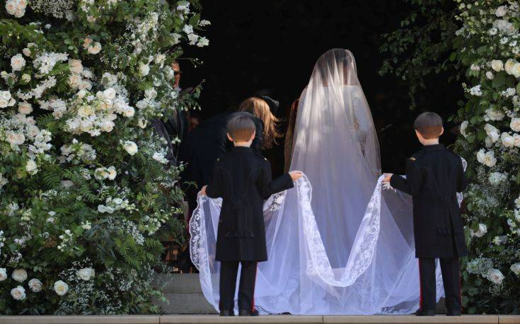 Meghan Markle and her bridal party arrive for her wedding to Prince Harry at St. George's Chapel in Windsor Castle in Windsor, near London, England, Saturday, May 19, 2018. (Jane Barlow/pool photo via AP)
