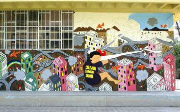 Τα πολύχρωμα γκράφιτι μαθητών στη Θεσσαλονίκη για την ειρήνη