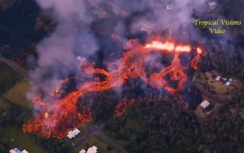 Εικόνες αποκάλυψης στη Χαβάη με το ηφαίστειο Κιλαουέα να «βρυχάται»