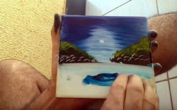 Ζωγραφίζοντας μόνο με το δάχτυλο και ένα πανί