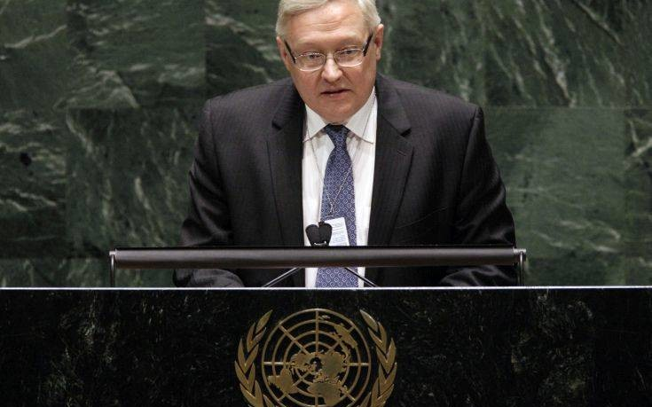 Sergey Ryabkov, Deputy Foreign Minister of the Russian Federation, addresses the Nuclear Nonproliferation Treaty (NPT) conference at United Nations headquarters, Tuesday, May 4, 2010. (AP Photo/Richard Drew)
