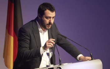 Italian Lega Nord chief Matteo Salvini delivers a speech at a meeting of European Nationalists in Koblenz, Germany, Saturday, Jan. 21, 2017. (Thomas Frey/dpa via AP)