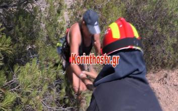 Τουρίστρια σώθηκε από πτώση στον Ισθμό της Κορίνθου γιατί κρατήθηκε από δέντρο