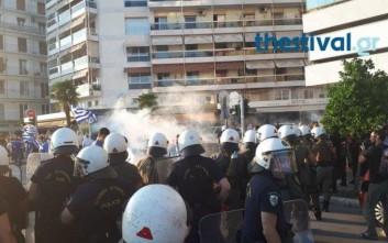 Ένταση μεταξύ διαδηλωτών και αστυνομικών στη Θεσσαλονίκη