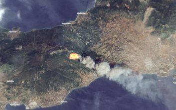 Οι φωτιές στην Αττική από δορυφορικές λήψεις