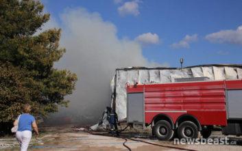 Υπό μερικό έλεγχο η πυρκαγιά σε επιχείρηση στο Μενίδι