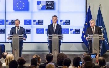 Υπογράφηκε κοινή δήλωση για τη συνεργασία της Ε.Ε. με το ΝΑΤΟ