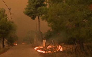 Σε κατοικημένη περιοχή πλησιάζουν οι φλόγες στην Κινέτα
