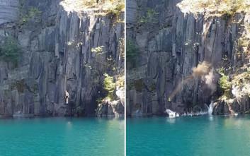 Βράχος πέφτει δευτερόλεπτα αφού είχε βουτήξει στο νερό