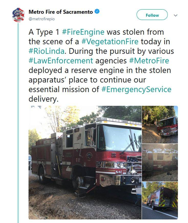 Έκλεψαν πυροσβεστικό όχημα και πήγαν βόλτα στην εξοχή
