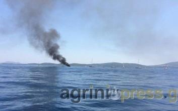 Καίγεται σκάφος εν πλω μεταξύ Μεγανησίου και Λευκάδας