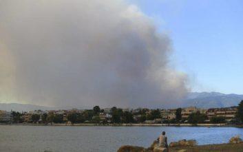 Έκλεισε η κυκλοφορία από και προς Βόρεια Εύβοια λόγω της πυρκαγιάς