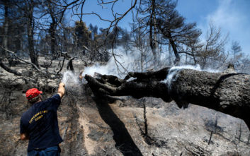 Οι πυροσβέστες κερδίζουν τη μάχη με τις φλόγες στην Εύβοια