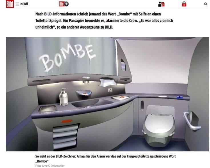 Είχαν γράψει τη λέξη «bombe» στην τουαλέτα του αεροσκάφους