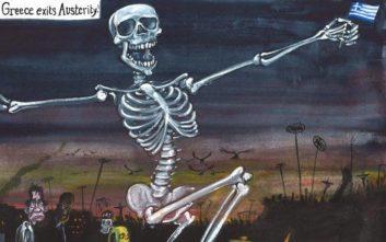 To «μαύρο» χιούμορ σκιτσογράφου του Guardian για την έξοδο από τα μνημόνια