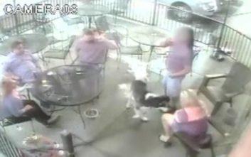 Η τρομακτική στιγμή που σκύλος δαγκώνει γυναίκα στο πρόσωπο
