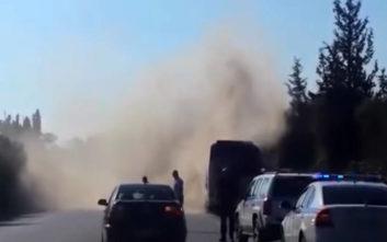 Βίντεο από την φωτιά σε λεωφορείο με τουρίστες