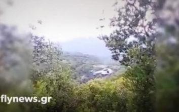 Φωτογραφίες και βίντεο από το σημείο που έπεσε το εκπαιδευτικό αεροπλάνο