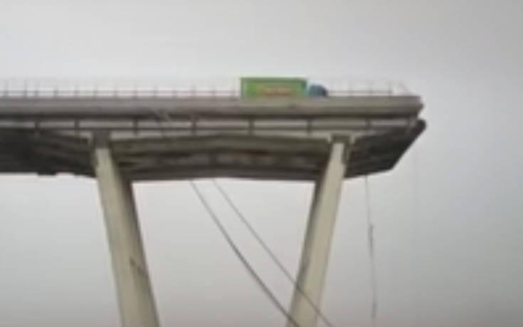 Τύχη βουνό για οδηγό φορτηγού στη γέφυρα που κατέρρευσε στη Γένοβα