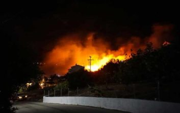 Νύχτα αγωνίας στην Κεφαλονιά με μεγάλα πύρινα μέτωπα