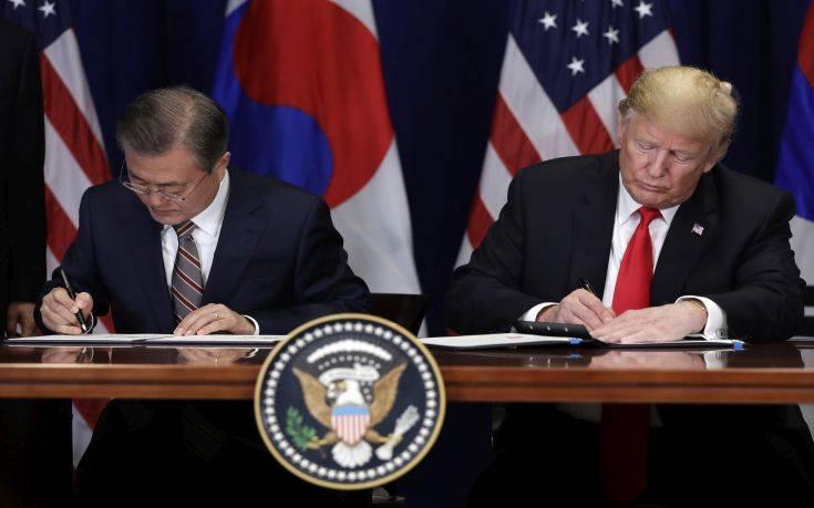 Τραμπ: Ιστορικό ορόσημο η νέα εμπορική συμφωνία Ουάσινγκτον – Σεούλ