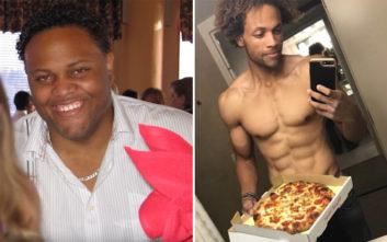 Υποστηρίζει ότι έχασε πάνω από 80 κιλά τρώγοντας πίτσες και μπέργκερ