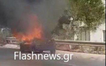 Στις φλόγες τυλίχθηκε αυτοκίνητο στην εθνική οδό Ρεθύμνου - Ηρακλείου